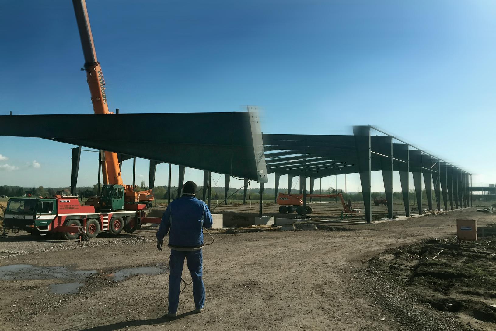 Baustellenfoto Logistiklager Bielefeld, Montage Stahlkonstruktion